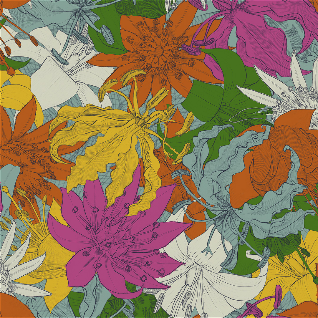 Hand-drawn floral design, digitally coloured and composed