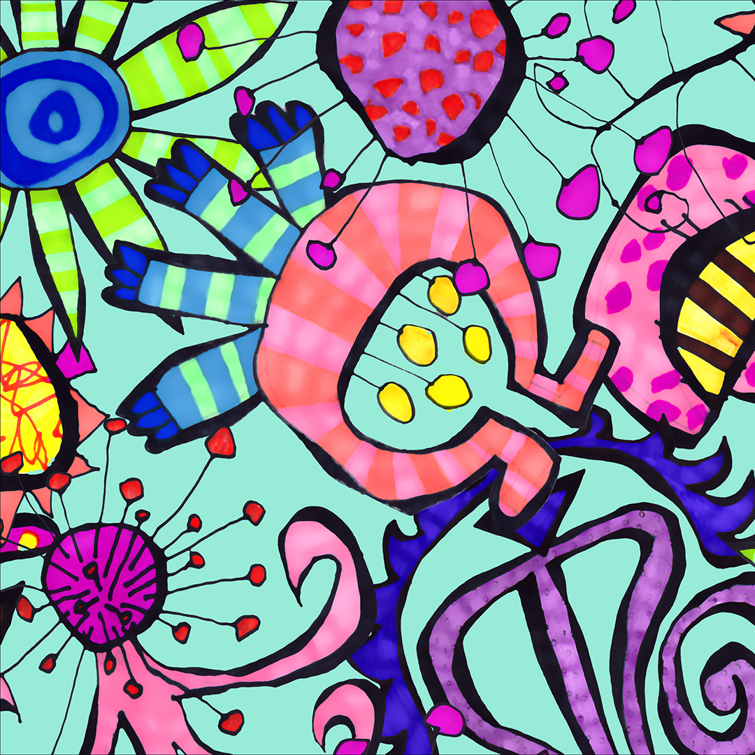 Brightly coloured image of cartoon-like flowers