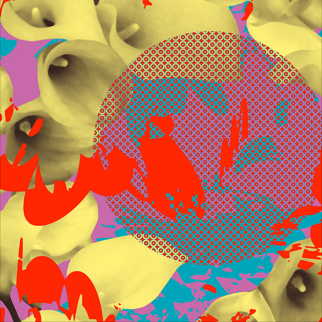 Abstract floral design with generative and photographic content